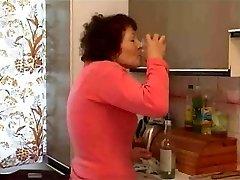 granny jacking with bottle