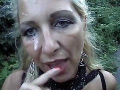 Pierced Towheaded Mom Gets A Facial Cumshot Outdoors
