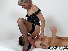 Steamy stockings legs mom Beate sitting on a man