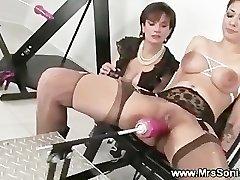 Gagged superslut and her fucking machine