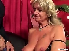 Grannie enjoys anal fucking machine