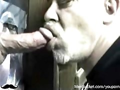 Mature amateur folks eating cocks from gloryholes