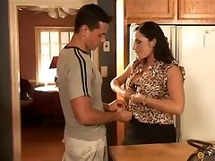 Mom in nylons takes young sausage