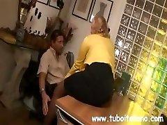 Platinum-blonde Italian Cougar makes out with the boss while her husband watches