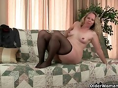 Mommy's pantyhosed pussy gets her all hot and horny
