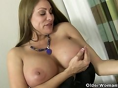American cougar Sheila plays with nylon and high heels