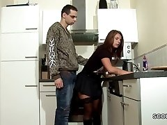 Step-Son Lure MILF Mom to Fuck and Cum on Stocking