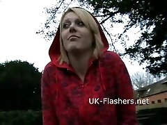 Showing blonde Shay Hendrix in public nudity and upskirt amateur footage