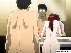 Bigboobs Japanese anime mother fucking bigcock in the rest room