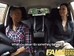 Fake Driving School busty black female fails test with lezzie examiner