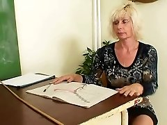 Mature educator masturbating after school