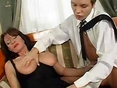 Superb Hairy Mature Squirts While Smashing Young Boner