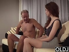 Senior Young Porn Natural Teen Takes Grandpa spear In her pussy