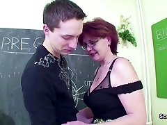 Mature School Teach show Young Boy How to Smash right