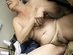 Horny Elder chubby Grandmother Masturbating with dildo