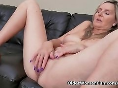 Blondie cougar Velvet Skye drips her pussy juice on the couch