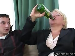 Boozed blonde granma is double ravaged