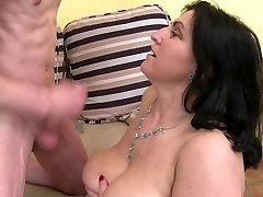 Mature huge-chested sexbomb mummy fucks not her young son