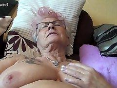 Very elderly German grannie and her saggy tits