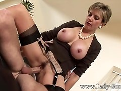 Lady Sonia nails 2 men gets covered in cum