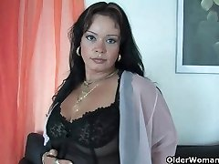 Sleazy moms in harness and tights having solo sex