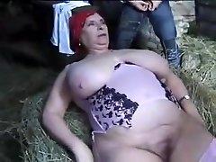 FRENCH BBW Grandma OLGA Plowed BY 2 MEN IN THE FARM