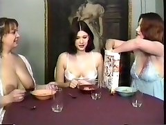 Milf maids having a breakfast and guzzling milk from their own cupcakes