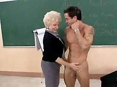 Hot Granny Milf Teacher Poking In Class