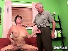 Granny fucks while spouse watches