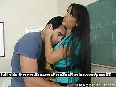 Huge-boobed brunette teacher at school going thru an earthquake