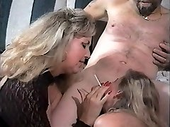 Steamy Matures Tag-team Smoking Blowjob