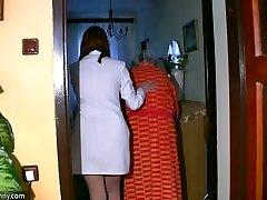 BBW chubby Nurse wank with old Grandmother
