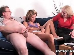 Skinny babe gets fucked in rock hard threesome