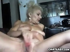 Big-titted granny solo action