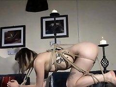 Pretty fledgling lezdom binds her goth sub with string