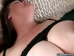 Huge-boobed grandma has to take care of her pulsating hard clit