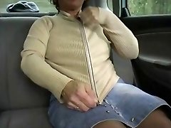 Red-haired-BBW-Granny Outdoors in a Car by 2 Guys