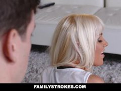 FamilyStrokes - Hot Blonde Milf Stretched Out & Pulverized