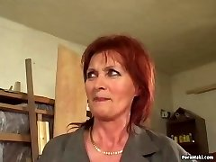 Redhead granny enjoys anal