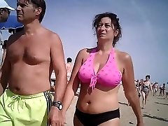 Big tits in bathing suit mature at beach