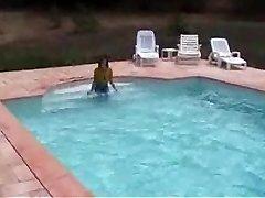 Marjorie is getting raw in her pool - outdoor