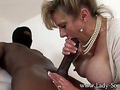MILF Doll Sonia wanks HUGE black cock