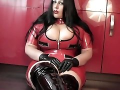Kitchen Blowjob Handjob with Latex Gloves - Female dressed in latex uniform Footwear - Cum in my Mouth