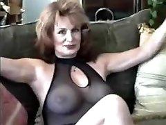 Cougar in black lingerie