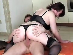 Mature in undergarments fucked by younger guy