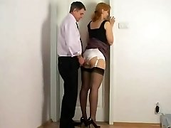 Rubbing against assistant satin panties