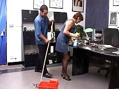 Janitors penetrating in the bosses office