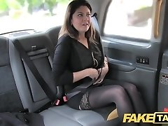 Faux Taxi big facial cum shot for brunette in stockings