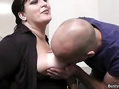 Office orgy with busty secretary in stocking