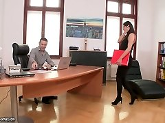 Hot brunette office fuckslut Vanessa Decker gets her juicy vulva plumbed well